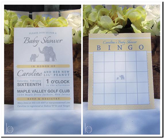 Printable Baby Shower Invitation Bingo Elephant Yellow Gray