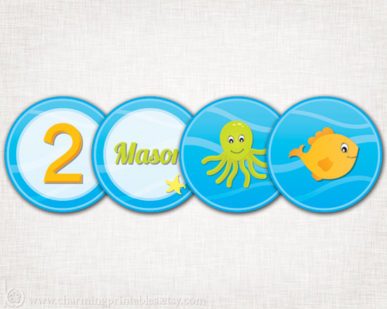 Printable Under the Sea Cupcake Toppers