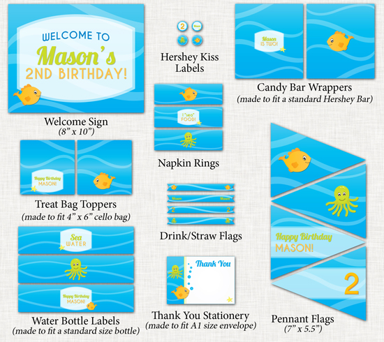 Printable Under the Sea Party Package