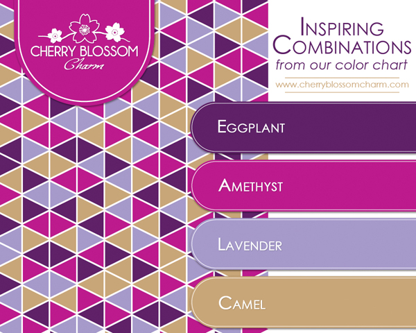 Purple Color Combo - Eggplant, Amethyst, Lavender, Camel Brown Gold