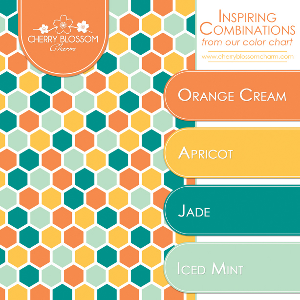 Fun combination of colors - orange cream, apricot, jade and iced mint