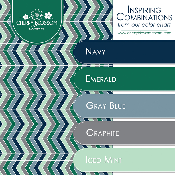 Color Combination for Winter - Navy Gray Blue Emerald Mint Green Gray Herringbone Pattern