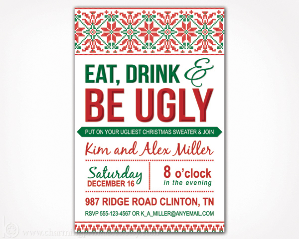 Ugly Christmas Sweater Party Invites Invitations