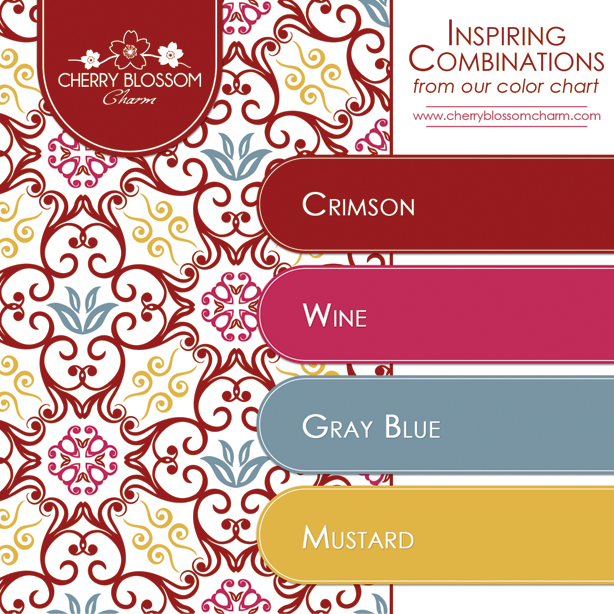Crimson Wine Gray Blue Mustard Yellow Color Combo