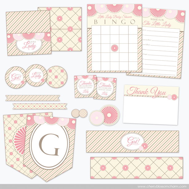 Pink Baby Shower Printables for Baby Girl Little Lady Themed Shower