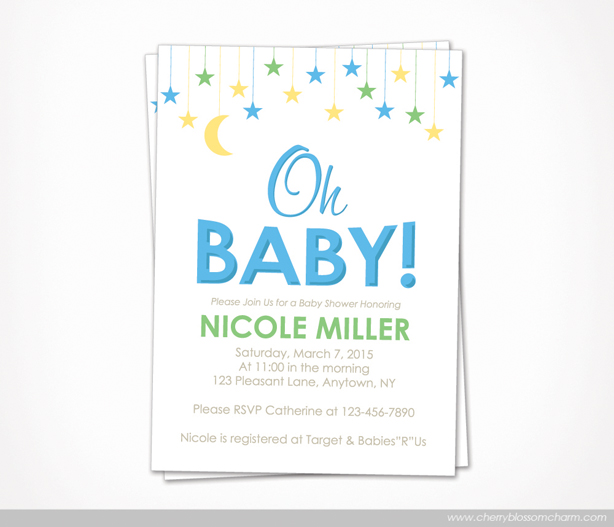 Star Moon Oh Baby Boy Baby Shower Invite