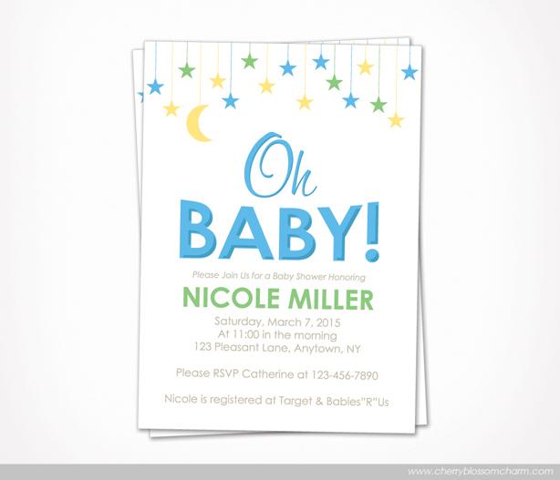 Star Moon Oh Baby Boy Baby Shower Invite