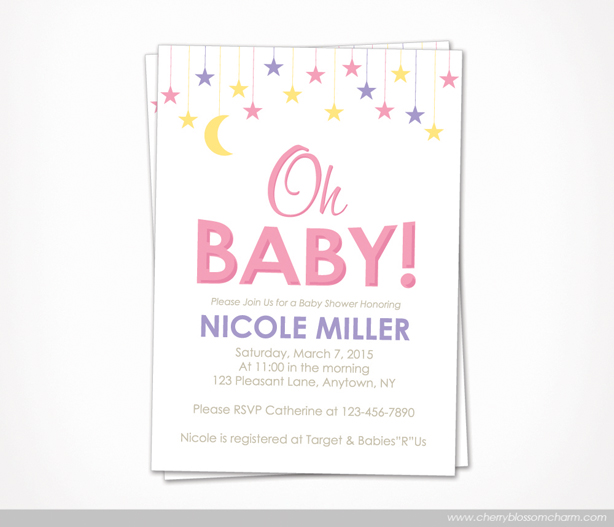 Star Moon Oh Baby Girl Baby Shower Invite