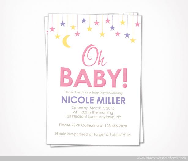 Star Moon Oh Baby Girl Baby Shower Invite