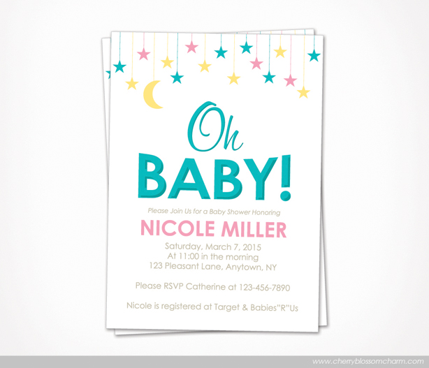 Oh Baby Star Moon Gender Neutral Baby Shower Invitation