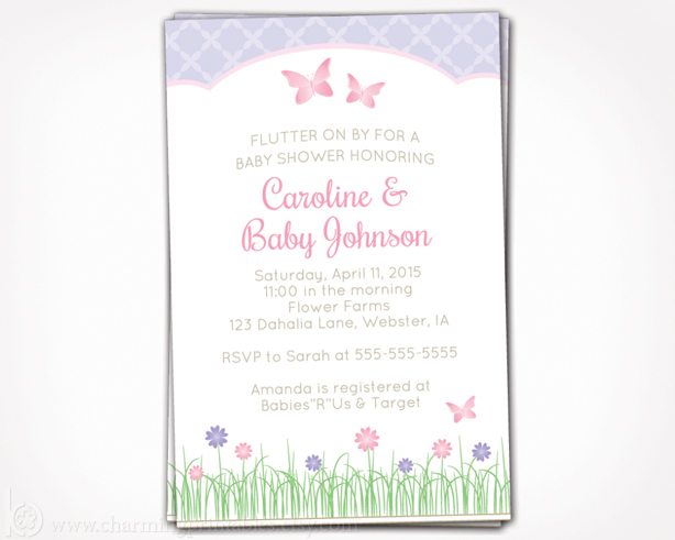 Invitation for Butterfly, Garden or Spring Girl Baby Shower